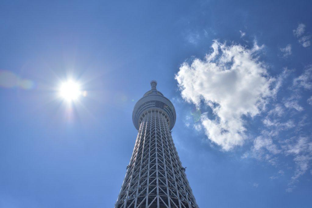東京スカイツリー 空と雲と太陽です
